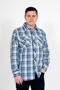 """Рубашка мужская """"шотландка Д/Р"""" шотландка (клетка, цвет голубой)"""