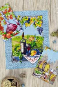 """Набор кухонных полотенец """"Провинция"""" вафельное полотно (цвет голубой)"""