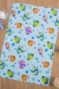 """Полотенце """"Подводный мир"""" вафельное полотно (цвет голубой)"""