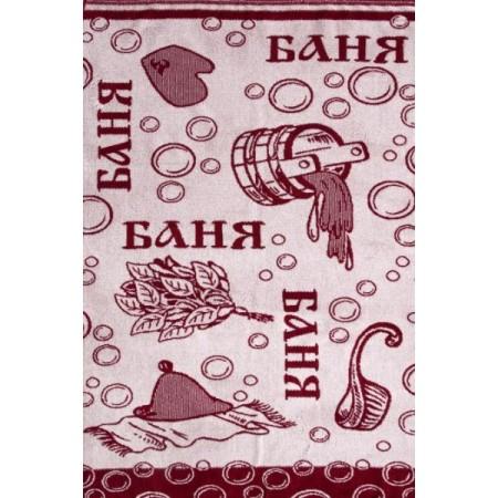 """Полотенце """"Баня"""" махровое (цвет бежевый, коричневый)"""